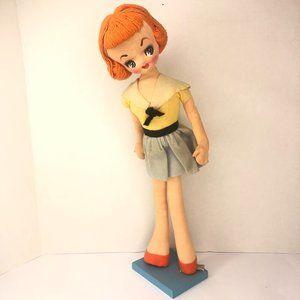 Vintage Holiday Fair 1950s 60s Style Cloth Doll
